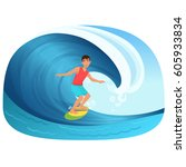 young man riding a surfboard in ... | Shutterstock .eps vector #605933834