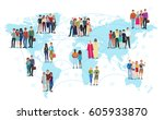 the people connected with lines ... | Shutterstock .eps vector #605933870