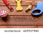 Stock photo concept pet care and training on wooden background top view 605937980
