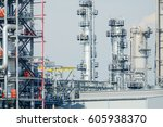 refinery oil and gas industry ... | Shutterstock . vector #605938370