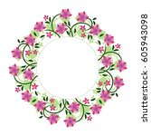 frame card with flowers in a... | Shutterstock .eps vector #605943098