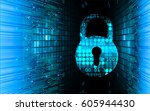 safety concept  closed padlock...   Shutterstock .eps vector #605944430