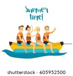 happy people on vacation.... | Shutterstock .eps vector #605952500