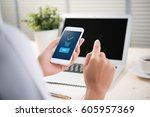 payment transaction with... | Shutterstock . vector #605957369