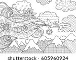 zendoodle abstract airplane... | Shutterstock .eps vector #605960924