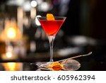 closeup glass of manhattan... | Shutterstock . vector #605962394