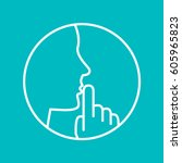 keep silence icon | Shutterstock .eps vector #605965823