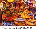 mexican pottery in bold earthy... | Shutterstock . vector #605967350