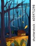vector illustration of nature... | Shutterstock .eps vector #605971298