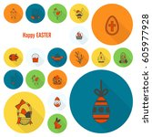 celebration easter icons.... | Shutterstock .eps vector #605977928