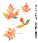 multicolored watercolor... | Shutterstock . vector #605979443