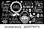 easter holiday hand drawn... | Shutterstock .eps vector #605979473