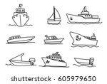 ships and boats icons hand... | Shutterstock .eps vector #605979650