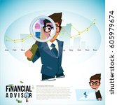 financial advisor with... | Shutterstock .eps vector #605979674