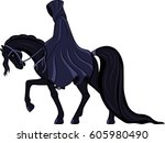 Faceless Dark Rider On Black...
