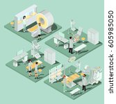 set of 3d flat isometric... | Shutterstock .eps vector #605985050