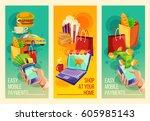 three vector cartoon... | Shutterstock .eps vector #605985143