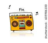 vintage radio  sketch for your... | Shutterstock .eps vector #605986100