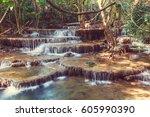 beautiful waterfall in... | Shutterstock . vector #605990390