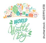 world health day concept with... | Shutterstock .eps vector #605991458