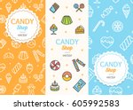 sweets and bakery candy banner... | Shutterstock .eps vector #605992583