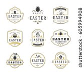 easter badges and labels vector ... | Shutterstock .eps vector #605994908