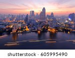 sunrise scenery of bangkok city ... | Shutterstock . vector #605995490