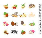 cartoon color nuts icons set... | Shutterstock .eps vector #605997230