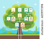 cartoon green family tree with... | Shutterstock .eps vector #605997398