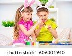 easter holidays. happy children ... | Shutterstock . vector #606001940