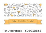 linear concept for pets and... | Shutterstock .eps vector #606010868