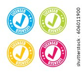 colorful licensed stamp labels | Shutterstock .eps vector #606011900