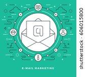 flat line e mail marketing... | Shutterstock .eps vector #606015800