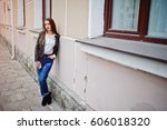 portrait of stylish young girl... | Shutterstock . vector #606018320