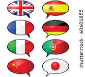 Glossy vector illustration of several cartoon talk balloons, with different flags representing different languages - stock vector