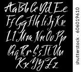 hand drawn font. modern brush... | Shutterstock .eps vector #606019610