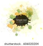 blot watercolor yellow green  | Shutterstock .eps vector #606020204