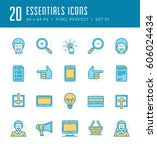 line icons set. flat thin...   Shutterstock .eps vector #606024434