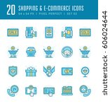 line icons set. flat thin... | Shutterstock .eps vector #606024644