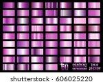 set of 60 purple metal... | Shutterstock .eps vector #606025220