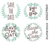 save the date decoration for... | Shutterstock .eps vector #606029864