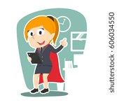 super businesswoman holding... | Shutterstock . vector #606034550