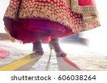 indian wedding. female foot... | Shutterstock . vector #606038264