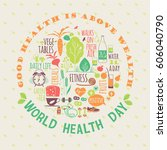 world health day concept... | Shutterstock .eps vector #606040790