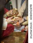 ceremonial in indian wedding ... | Shutterstock . vector #606042698