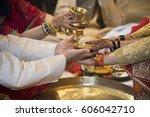 ceremonial in indian wedding ... | Shutterstock . vector #606042710