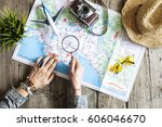 travel planning concept on map | Shutterstock . vector #606046670