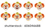 the set of emotions the clown.... | Shutterstock .eps vector #606046688