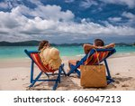 couple on tropical beach in... | Shutterstock . vector #606047213