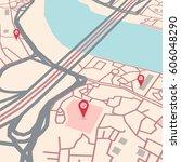 vector flat abstract city map... | Shutterstock .eps vector #606048290